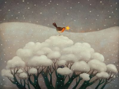"""""""The Lost Star"""" by Paolo Domeniconi. This makes me smile - I love the tree as the transition between sky and earth. Snow = clouds. Sweet and brilliant."""