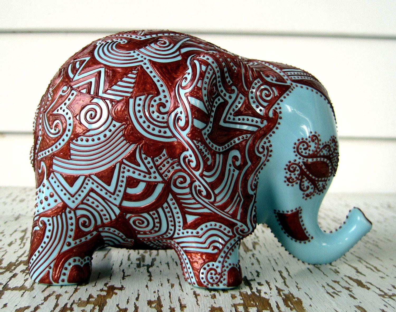 Ceramic elephant embossed copper design on sky blue glazed elephant bank south asian - Ceramic elephant piggy bank ...