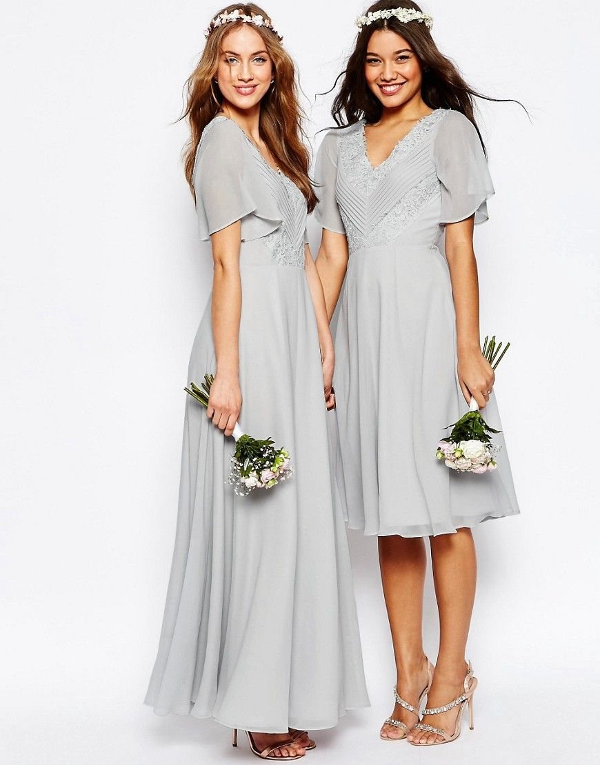 Image 4 of asos wedding lace and pleat midi dress gray is a go image 4 of asos wedding lace and pleat midi dress ombrellifo Images