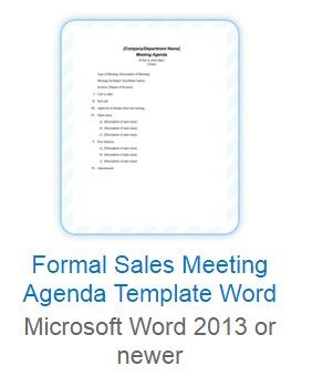 Download Free Sales Meeting Agenda Template For Microsoft Word
