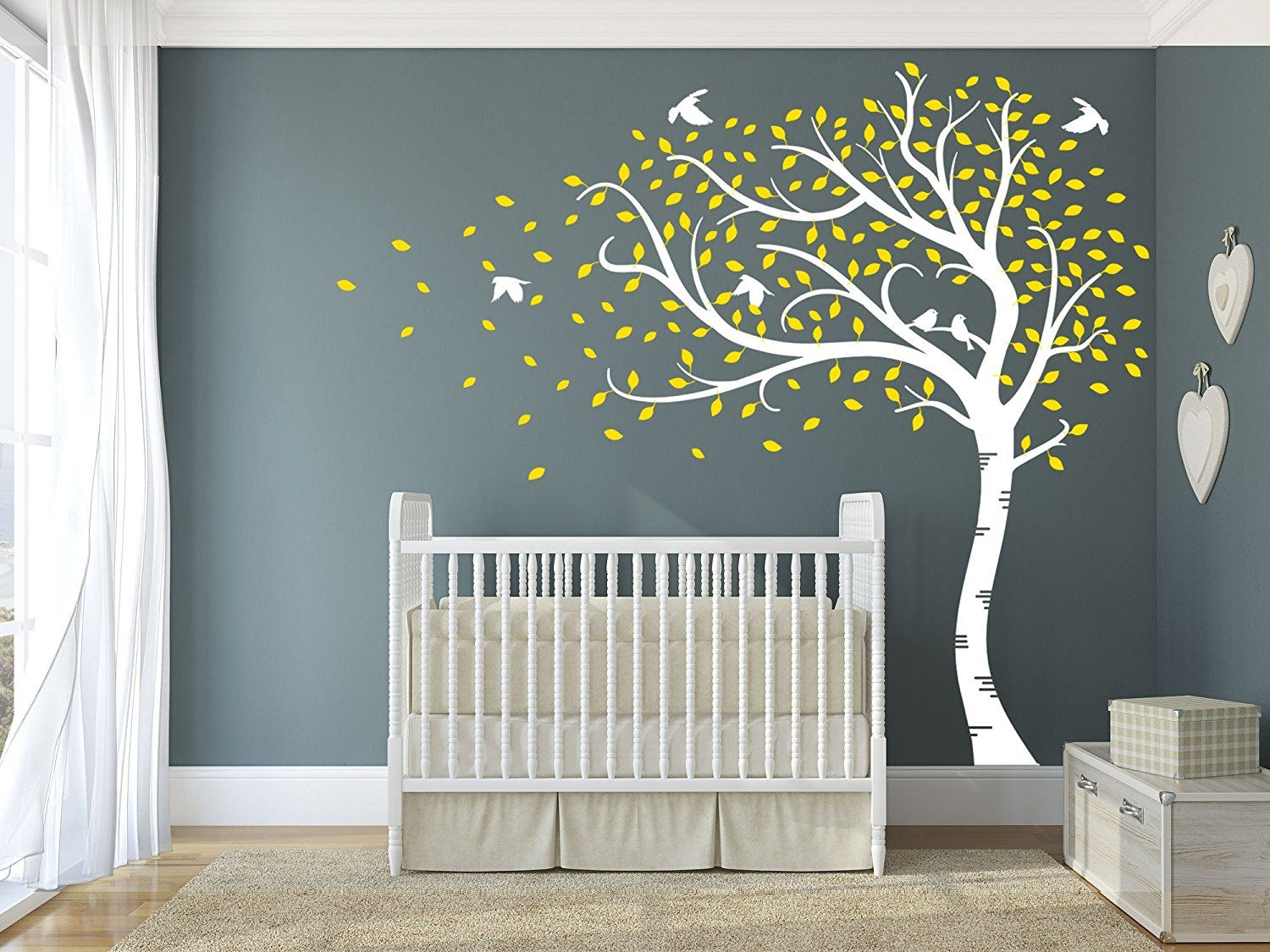 Design Divils Premium Large Sweeping Autumn Tree With Leaves And - Nursery wall decals ukbaby nursery wall decor uk baby room wall art uk grey and yellow