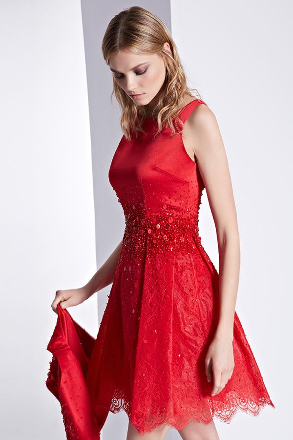 d4f694c7ddf Robe de cocktail rouge dentelle aux bijoux col rond courte pour mariage