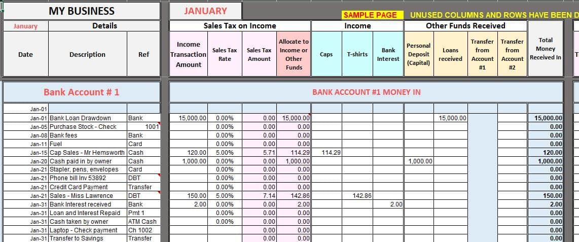 Free Excel Bookkeeping Templates Small business