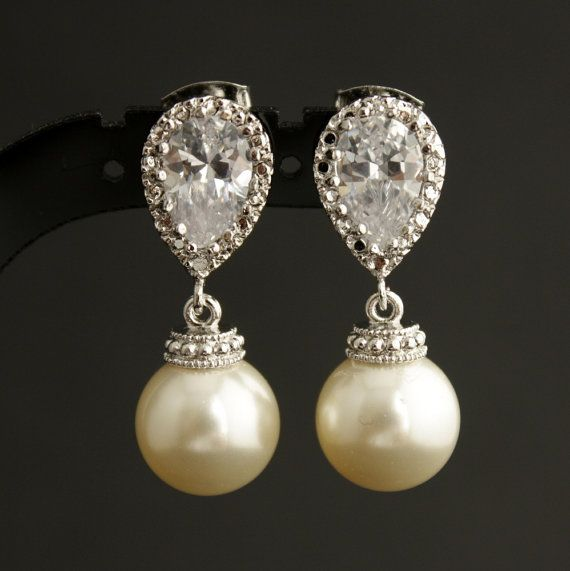 Pearl Jewelry Cream Ivory Cubic Zirconia Bridal Earrings Posts Silver With Swarovski Pearls Wedding