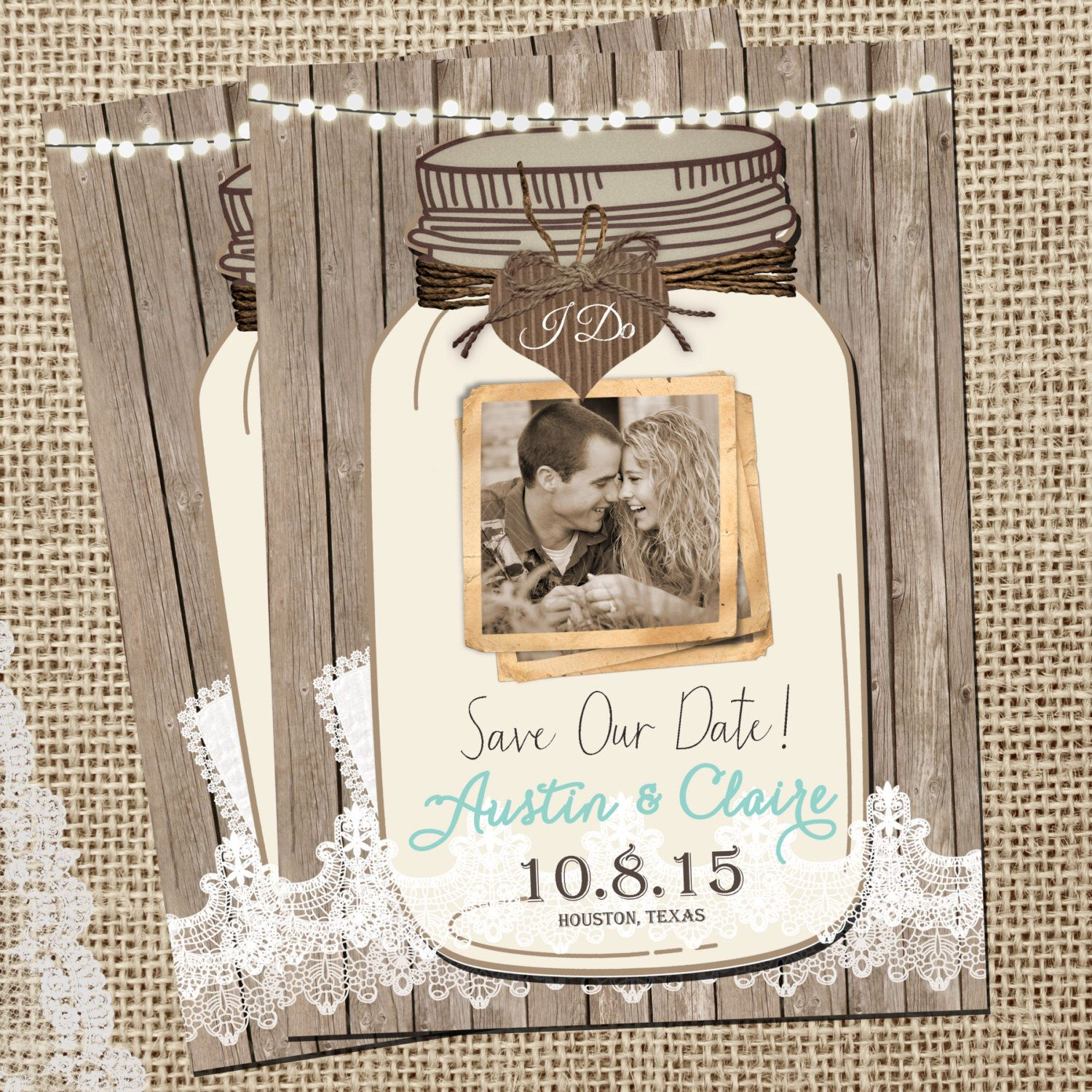rustic mason jar  save the date  lights  lace save the