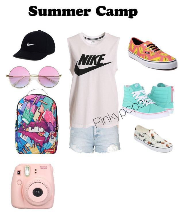 """""""Go In Style"""" by pinkypopsx on Polyvore featuring Topshop, NIKE, Sprayground, Vans, Fujifilm, summercamp and 60secondstyle"""