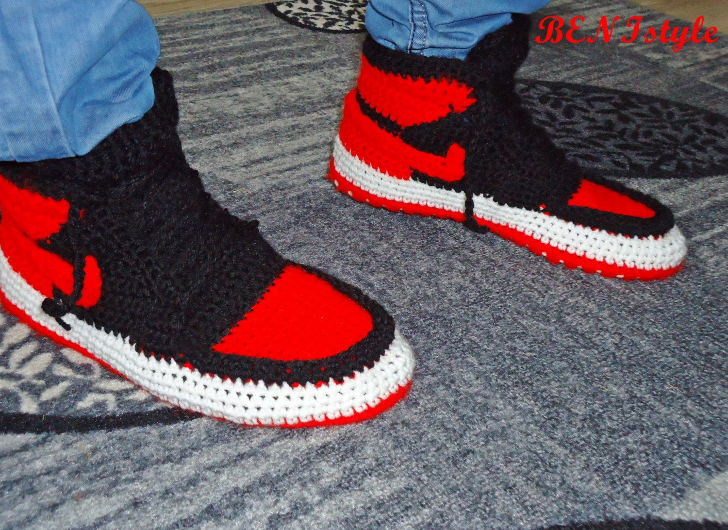Nike Air Jordan Shoes, Crochet Converse Slippers, Adult Shoes, House  Slippers, Men's Crochet Shoes, Men's Crochet Adult Converse Slippers,