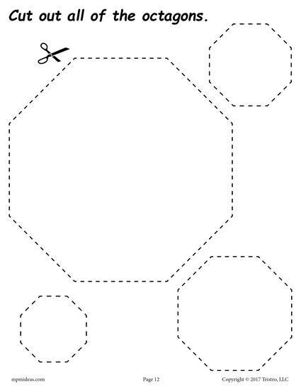 12 Printable Shapes Cutting Worksheets Shapes Worksheets
