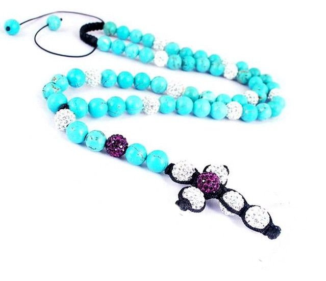 Bright Blue Disco Ball Necklace Jewelry Findings with Pendant