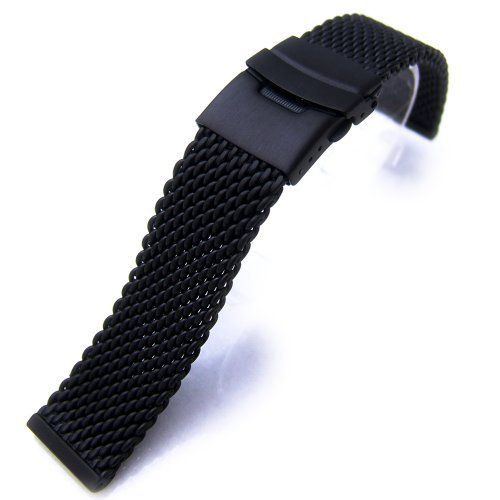 24mm PVD Black Heavy Stainless Steel Mesh Diver Watch Band Bracelet, AB - http://www.specialdaysgift.com/24mm-pvd-black-heavy-stainless-steel-mesh-diver-watch-band-bracelet-ab/