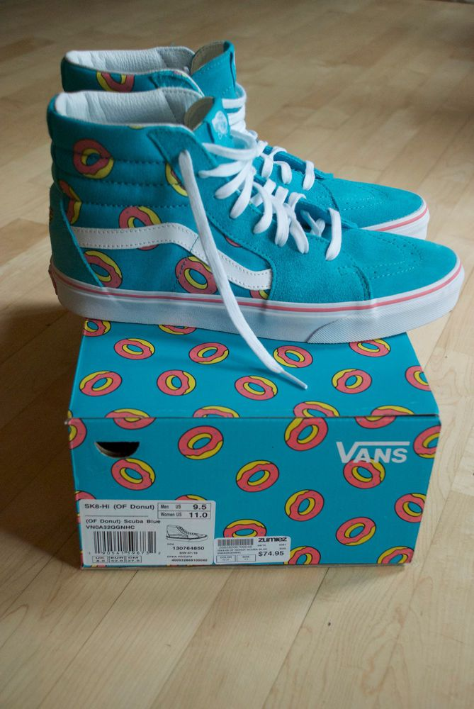 a64c546728e6 VANS X ODD FUTURE SK-8 HI Size 9.5 SCUBA BLUE DONUT NEW NEVER WORN Golf  wang  VANS  Skateboarding