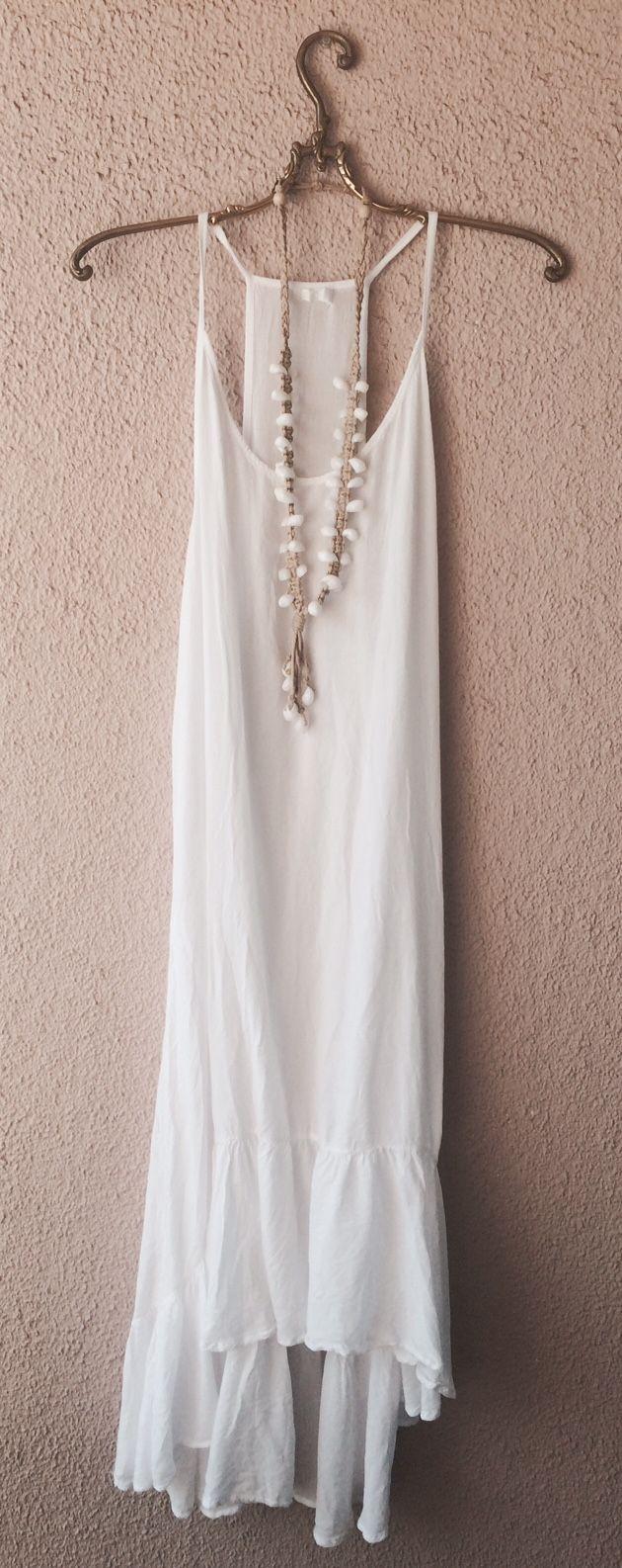 Indha white ruffle hi low bohemian beach resort or gypsy wedding