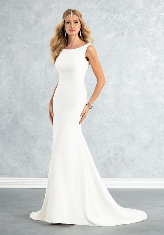 Modern crepe fluted wedding dress with a sleeveless high-neck bodice ...