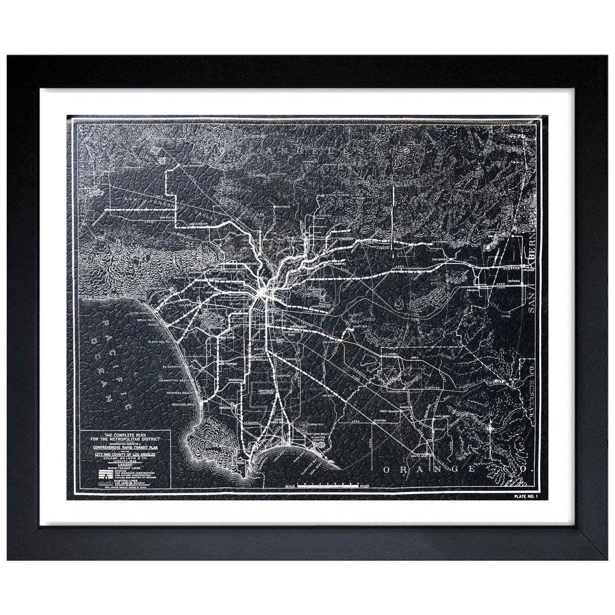 Oliver Gal Artist Co LA Rapid Transit Map 1925 Framed Art Print