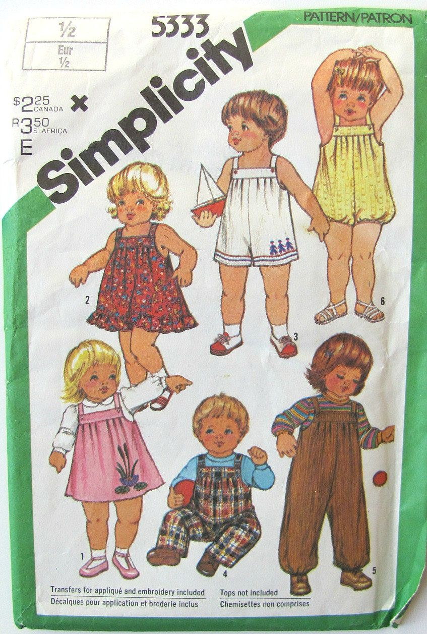Simplicity Vintage Sewing Pattern Size 1/2 for Baby Girl Boy ...