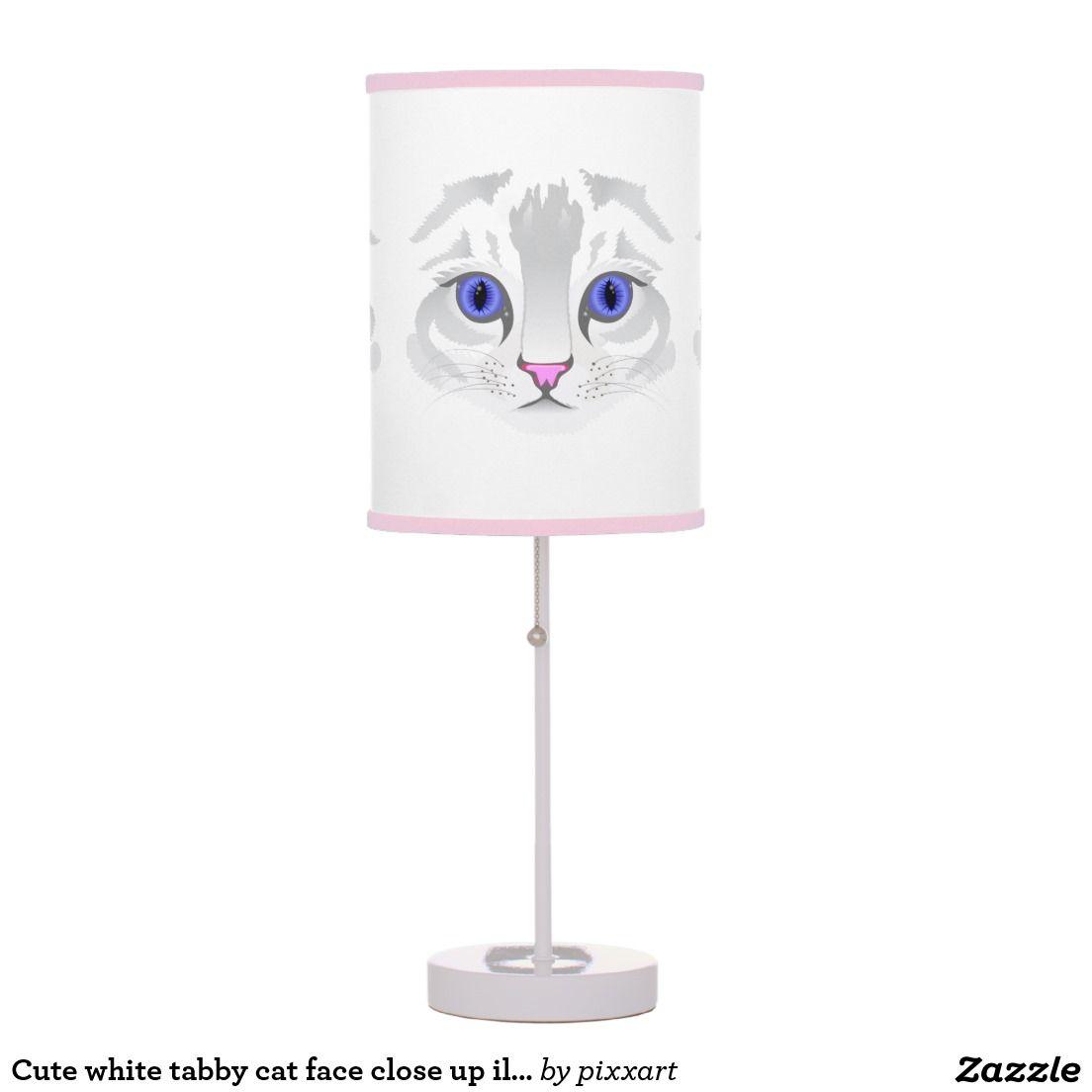 Cute white tabby cat face close up illustration desk lamp white