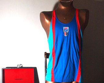 Retro NIKE 1980s / 80s Vintage Mens Neon Sport Stripe Colour Blocked Bad Ass Novelty Athletic Racerback Tank Top {LARGE} lhGgHpJuc