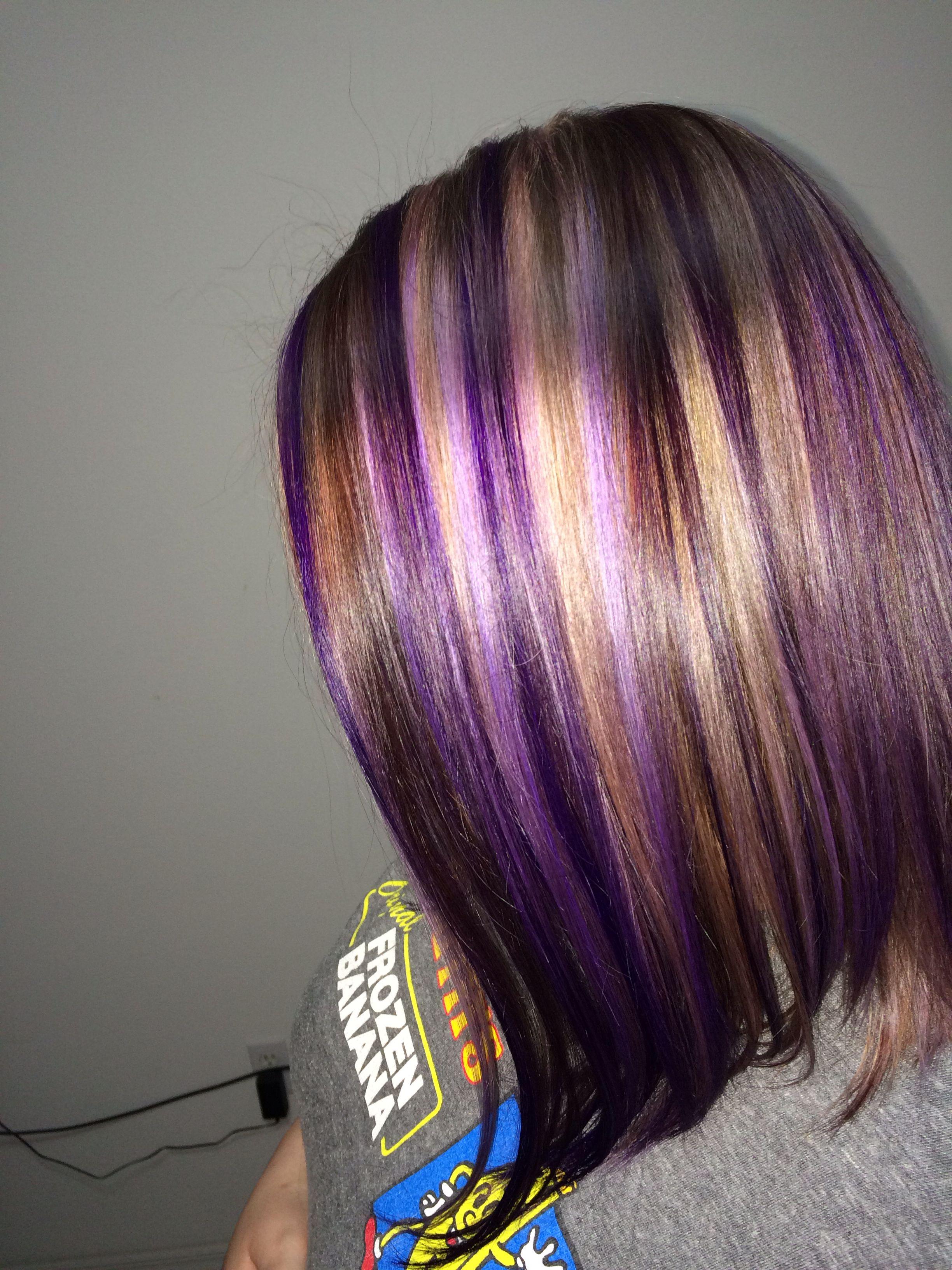 Pravana Vivids Violet With Blonde Highlights And Brown Lowlights Hair Styles Hair Color Purple Blonde Hair Color