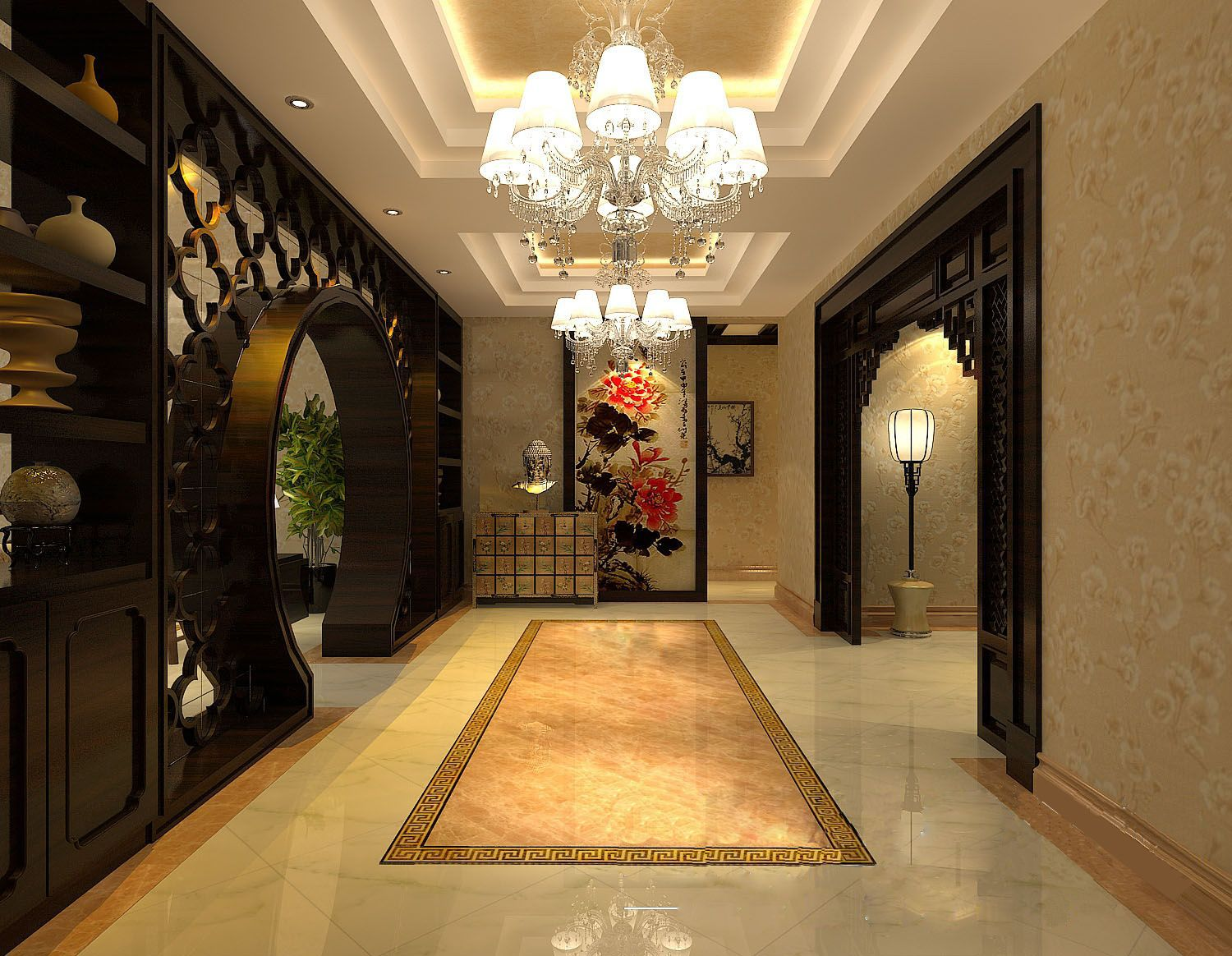 Asian Foyer Design : Oriental chinese interior design asian inspired foyer home