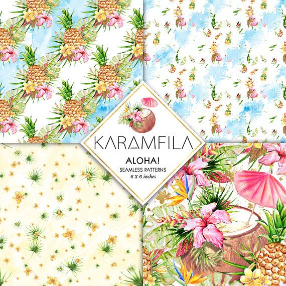 Tropical Paper Watercolor Floral Seamless Patterns Summer