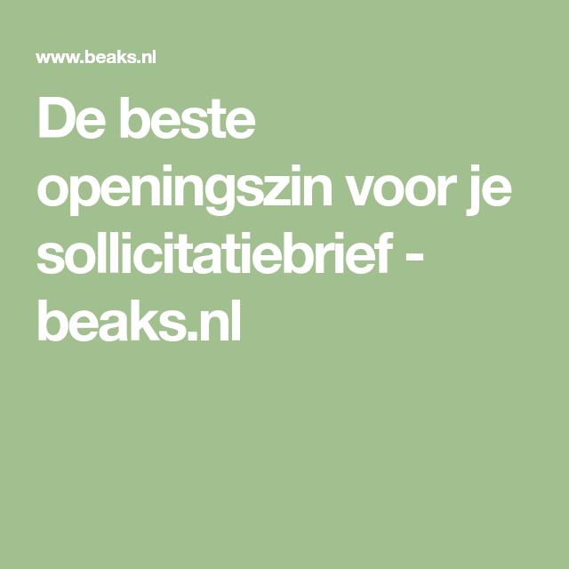 De beste openingszin voor je sollicitatiebrief   beaks.nl | soll