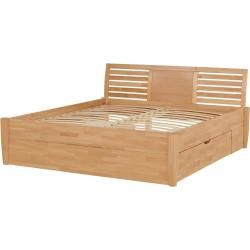 Photo of Solid wood bed frame with storage box – wood-colored – 196 cm – 93 cm – beds> bed frames furniture Kr