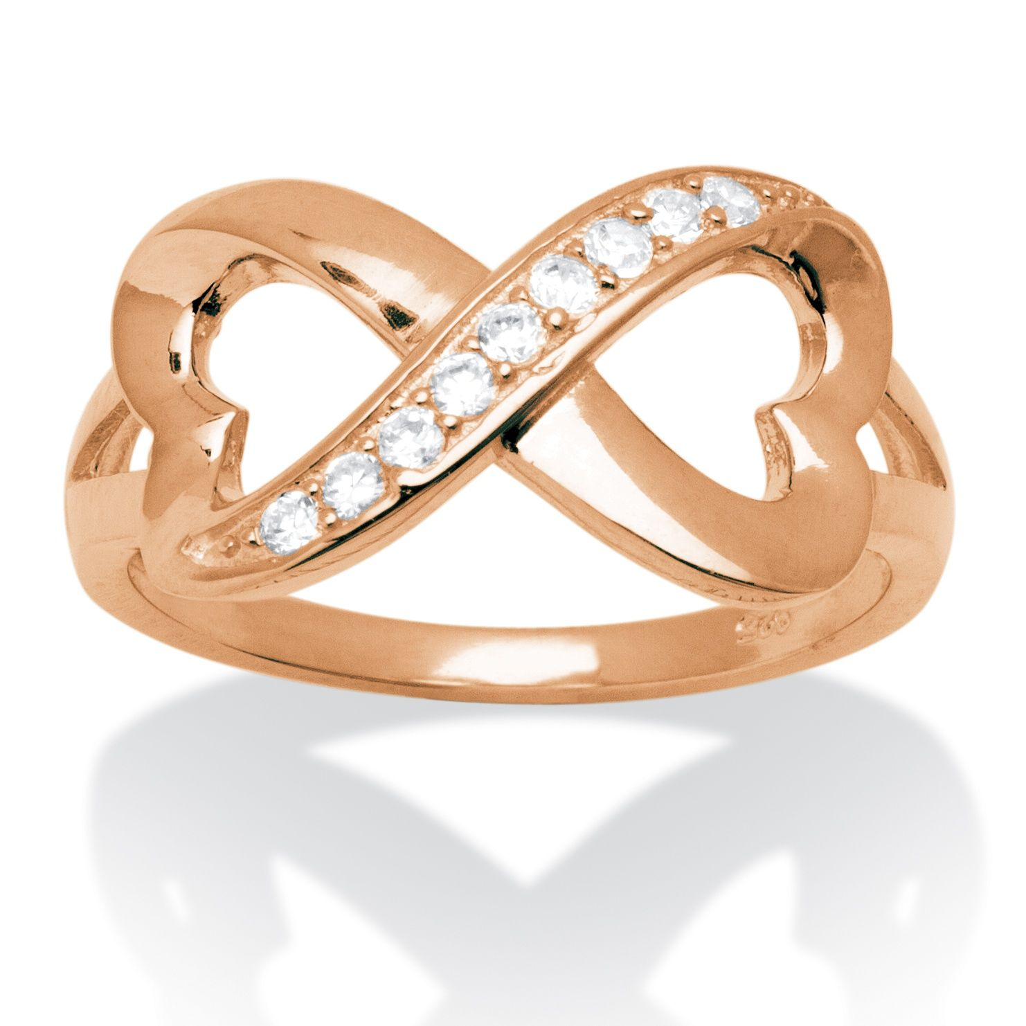 Cubic Zirconia Accent Infinity Heart Ring in Rose Gold Over Sterling