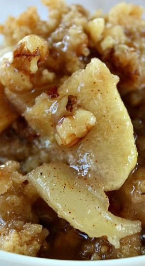 Apple Pear Walnut Crisp ~ The flavor of the apples and pears, along with the crunchiness of the walnuts, mixed together with all the juices, make for one DELICIOUS treat