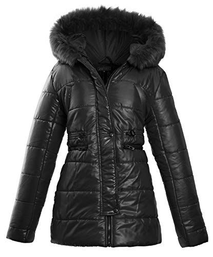 11dfc73f37eef Womens Ladies Faux Fur Hooded Padded Quilted Longline Zip Up Puffer Collar Jacket  Coat Size 8