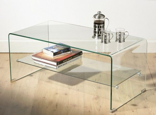 Elegant Clear Glass Large Coffee Table With Shelf