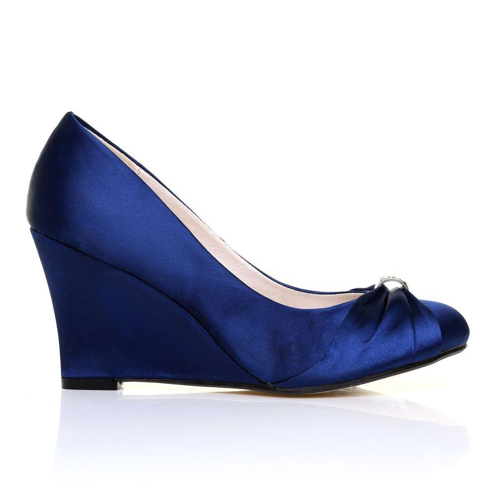 Eden navy satin wedge high heel bridal court shoes shuwishuk