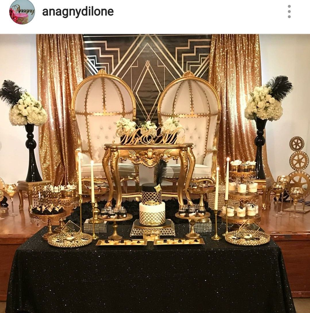 GATSBY THEME Anniversary Party Dessert Table And Decor
