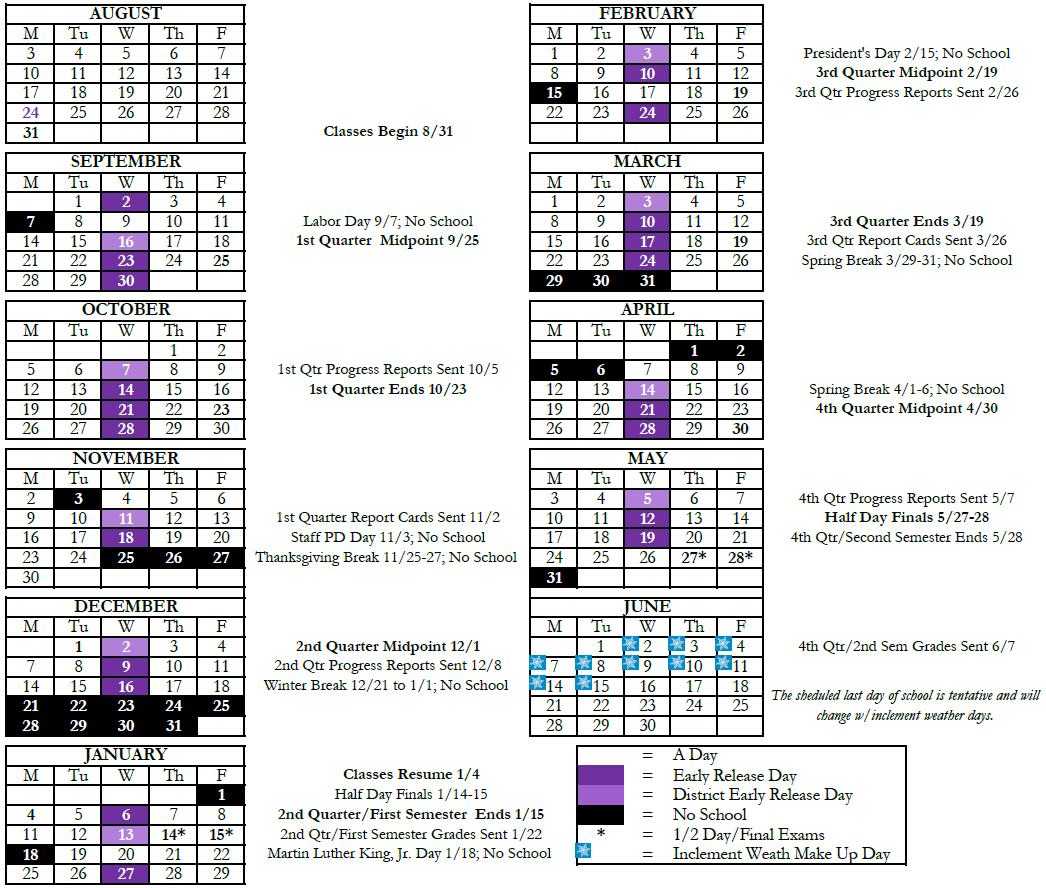 Fort Zumwalt Academic Calendar | Academic calendar, Calendar board