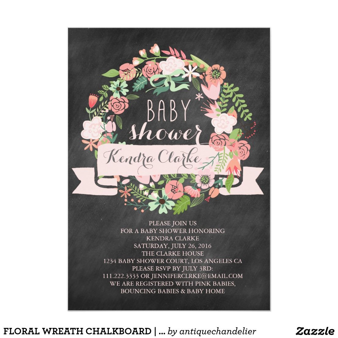FLORAL WREATH CHALKBOARD | BABY SHOWER INVITATION | Cute Girly Girl ...