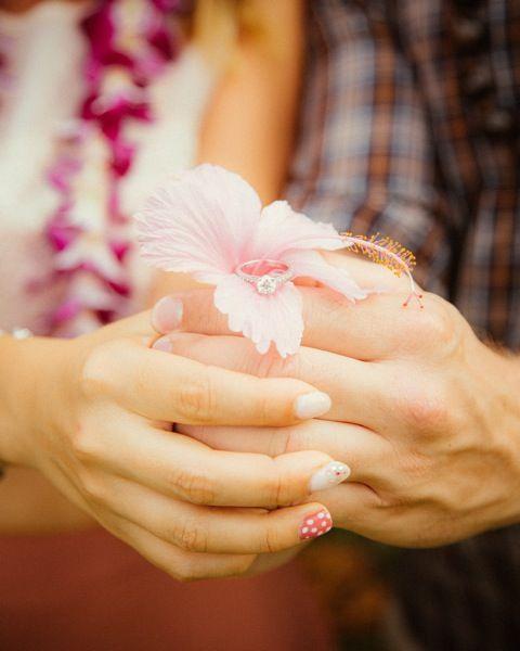 Wedding rings + Hawaiian flowers | Chris J Evans Photography