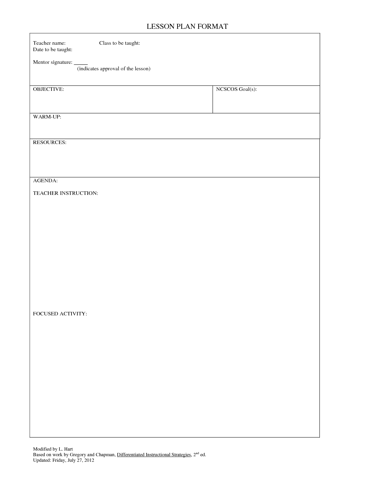 Blank Lesson Plan Sheet Plans Activity Sheets