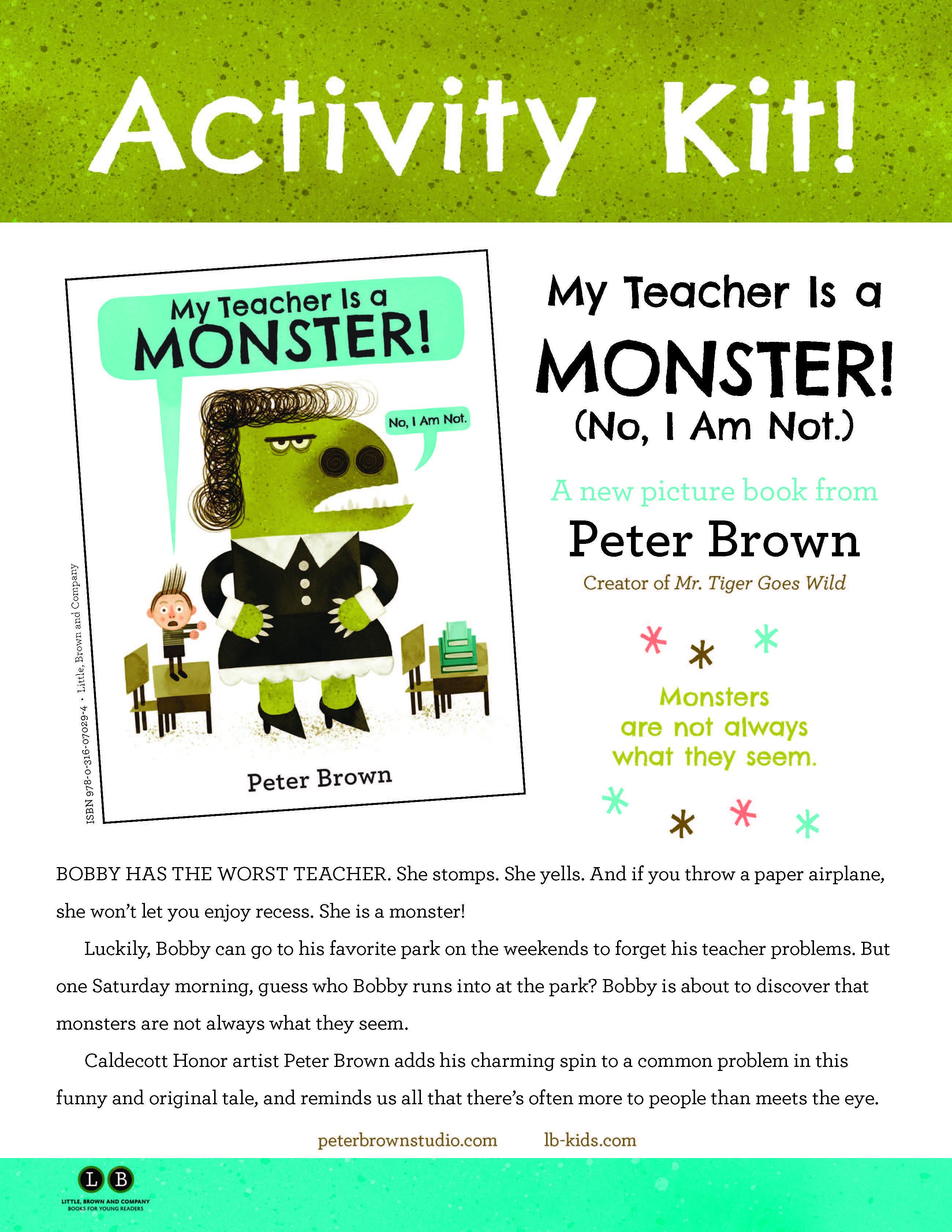 My Teacher Is A Monster No I Am Not Activity Kit