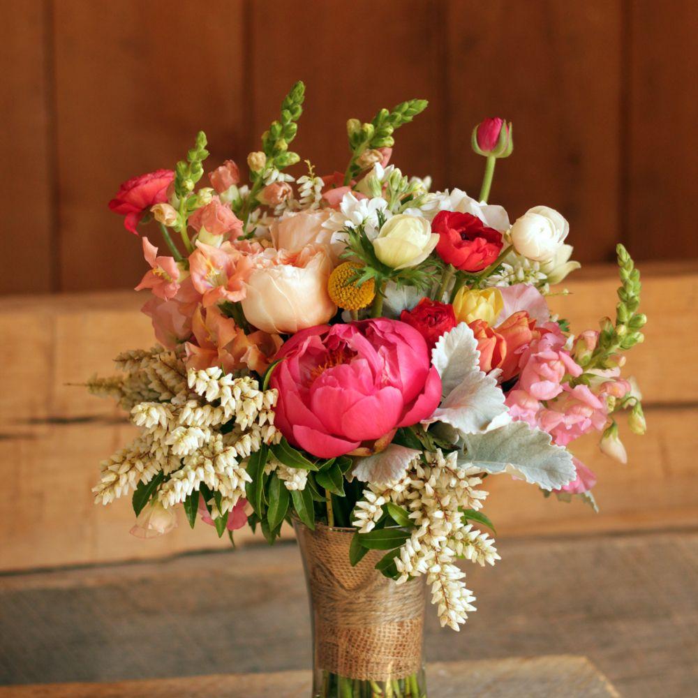 Bridesmaid's Coral Peach Wedding Bouquet. Pieris Japonica