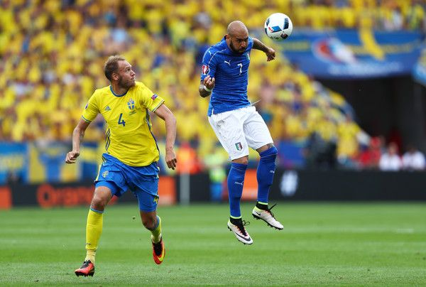 Simone #Zaza of Italy wins a header as Andreas Granqvist of Sweden looks on during the UEFA EURO 2016 Group E match between Italy and Sweden at Stadium Municipal on June 17, 2016 in Toulouse, France.