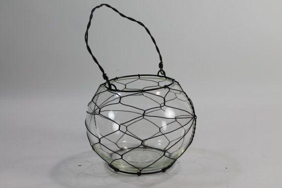 Hurricane, Candle Holder, Industrial Hanging Flower Vase, Terrarium on