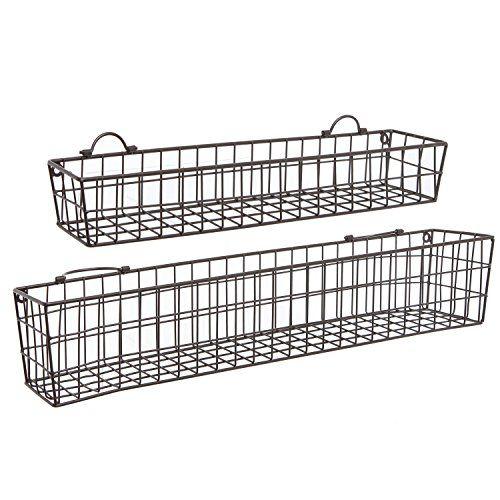 Attirant Set Of 2 Country Rustic Wall Mounted Openwork  · Wire StorageStorage  ShelvesBasket ...