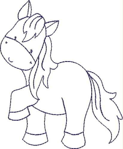 Blue Line Pony | machine embroidery | Free applique patterns, Horse