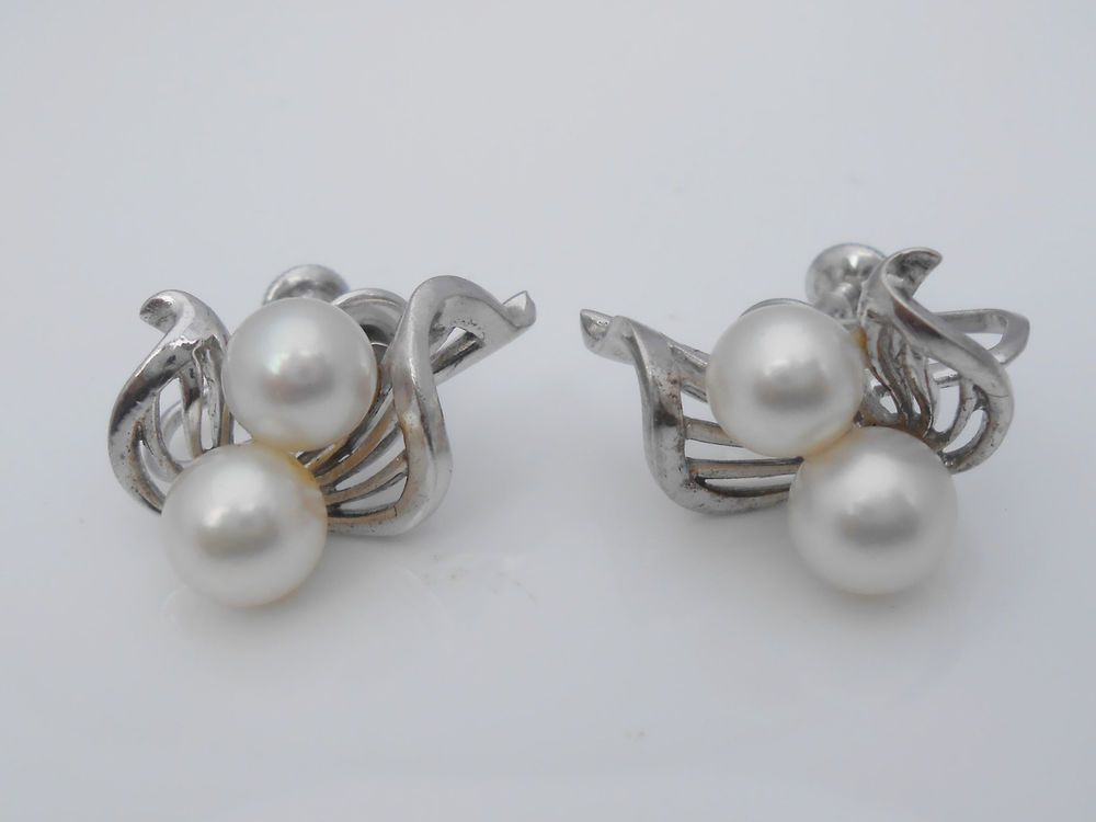 796dbe5bb Mikimoto Pearl Sterling Silver Vintage Screw Back Earrings Double Pearls  1940's #Mikimoto #Cluster