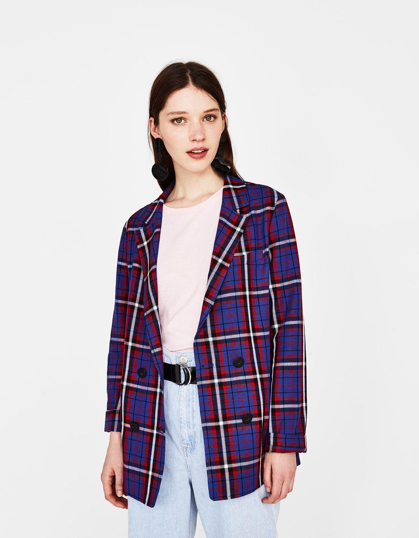 1d57f9fe033 Checked blazer - Bershka  fashion  product  checked  blazer  americana   cuadros  blue  red  rojo  azul  girl  girly  trend  trendy  cool  outfit