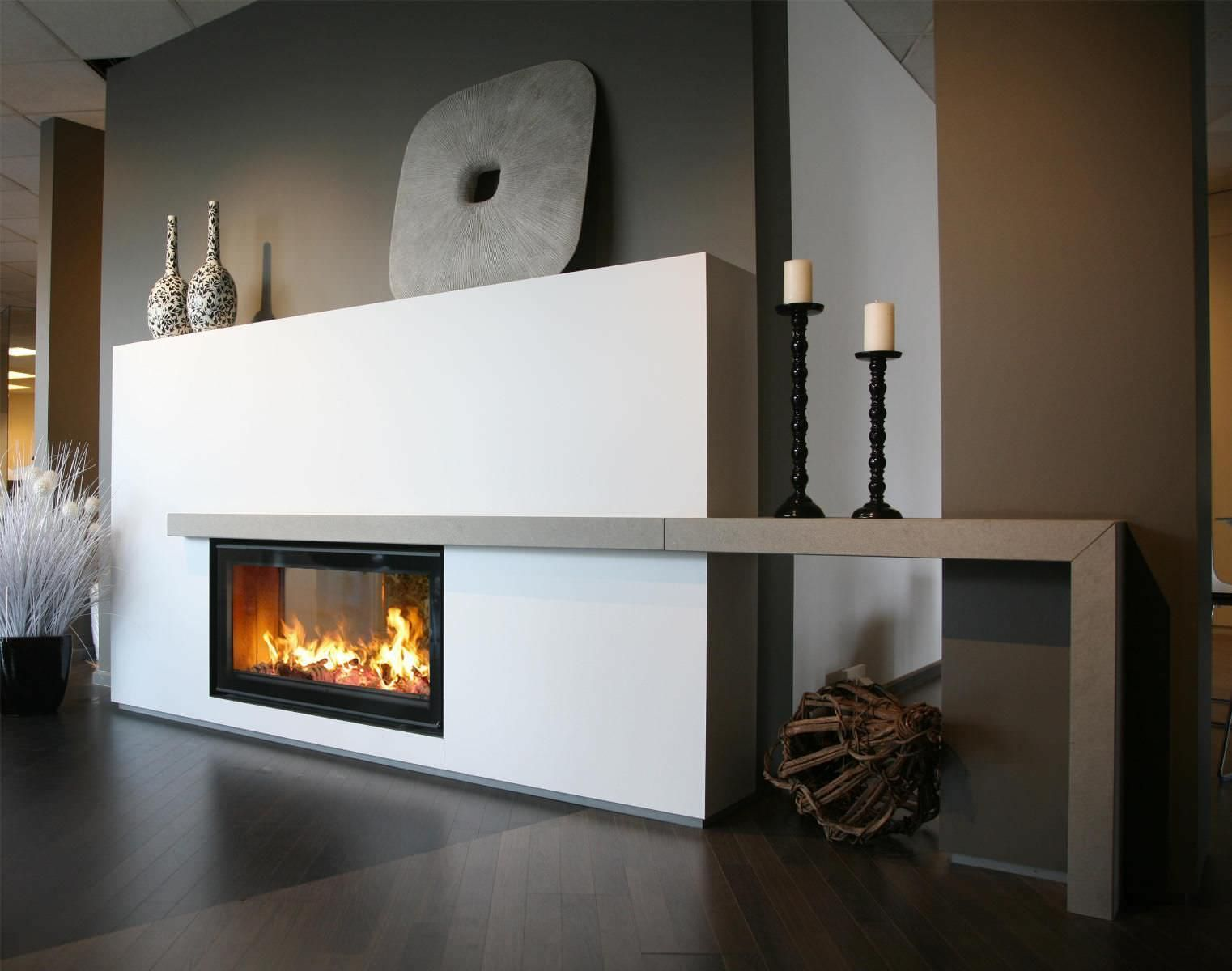plain white double sided gas fireplace mantel design with brown table shelf plus decorative. Black Bedroom Furniture Sets. Home Design Ideas