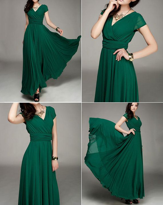 cdaeb46a60d34 Forest Green Maxi Dress with V Neck and Cap Sleeves & High Waist ...