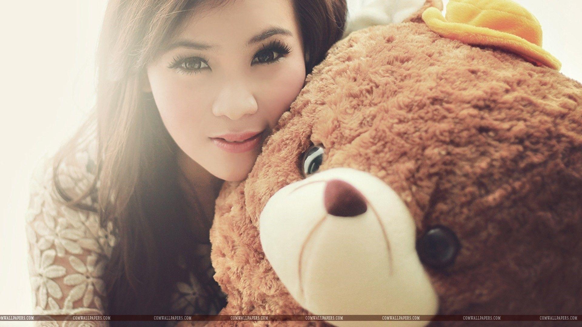 asian girl teddy bear wallpaper | cute hd wallpapers | pinterest