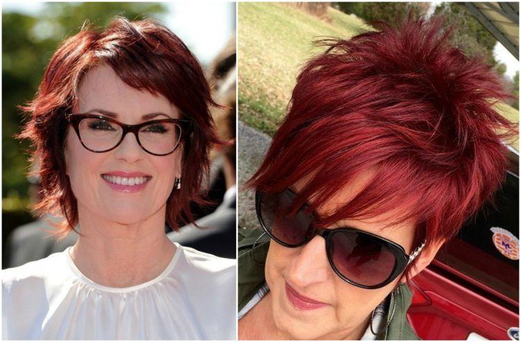 Peppige Frisuren Für Frauen Ab 50 Rote Haarfarbe Fransig In