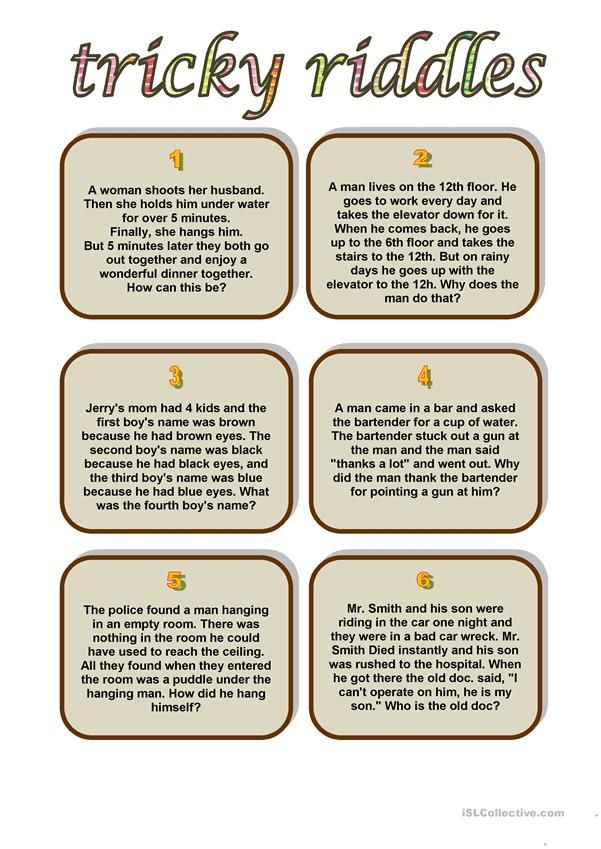 It is a picture of Irresistible Riddles for Kids Printable