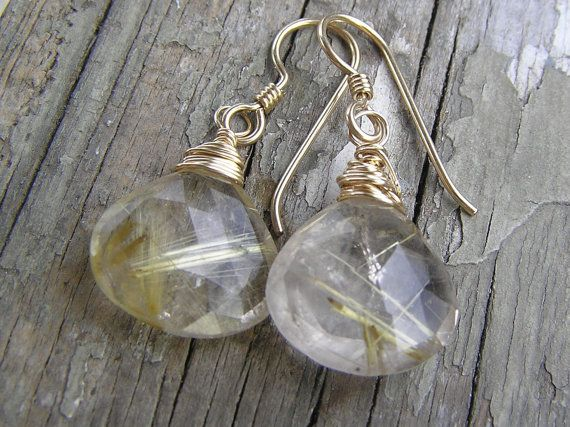 AAA Rutilated #Quartz Wire Wrapped Dangle #Earrings with 24k Gold Filled